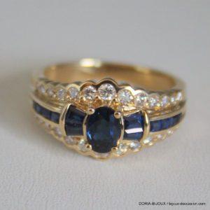 Bague Or 18k 750/000 18k 6.22grs Saphir Diamant