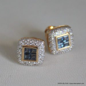 Boucle D'oreille Or 18k 750/000 Saphir Diamant