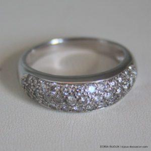 Bague Or Blanc 18k 750/000 6.62grs Diamant 0.60 Ct