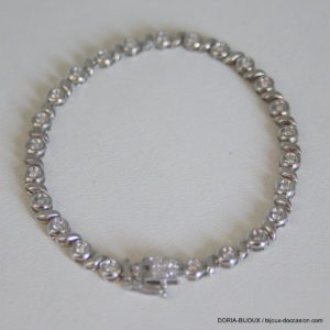 Bracelet Or Blanc 18k 750/000 10.19grs 30 Diamants