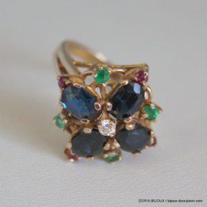 Bague Or 18k 750/000 4.87grs Saphir Diamant Emeraude
