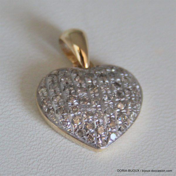 Pendentif Coeur Or Bicolore 18k 750 Pavage Diamants