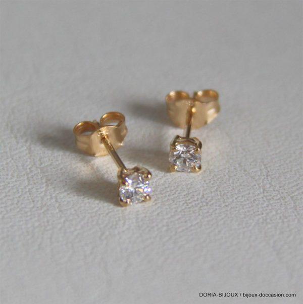 Boucle d'oreille or jaune 0.10 carat x 2 = 0.20 cara