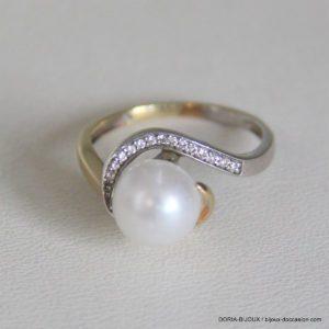 Bague or 18k 750/000 2.08grs  perle diamant no 50