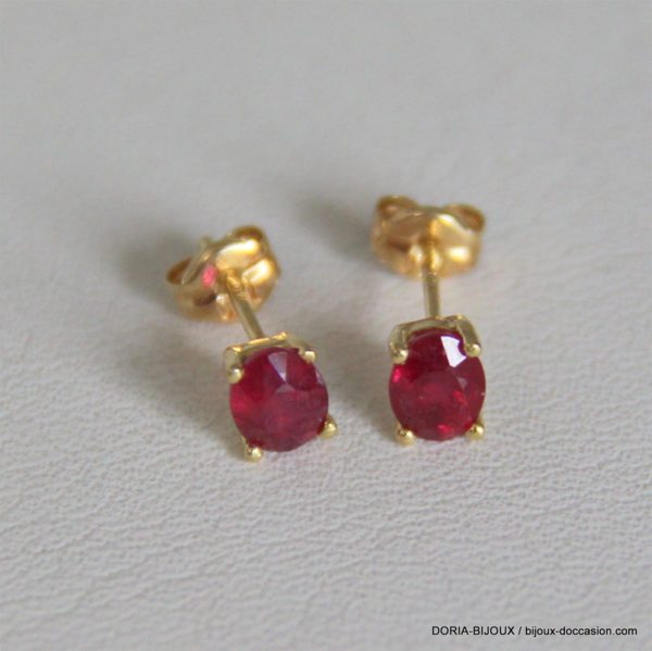 Boucle d'oreille or 18k 750/000 0.84grs rubis