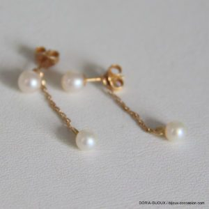 Boucle d'oreille or 750/000 1.05grs  perles pendente