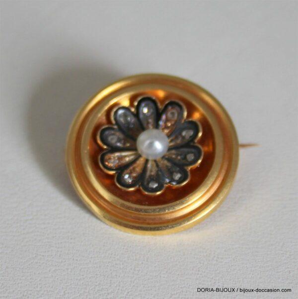 Broche Vintage Or 18k, 750/000 Perle 4.1grs