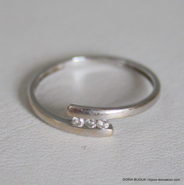 Bague Or 18k Diamants Trilogie - 54- 0.9grs