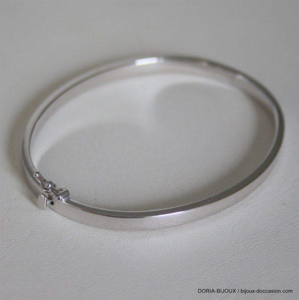 Bracelet Jonc Ouvrant Or Gris 18k 750- 7.85grs