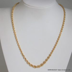Collier Or 18k 750 Maille Corde Chute -7.25grs -45cm