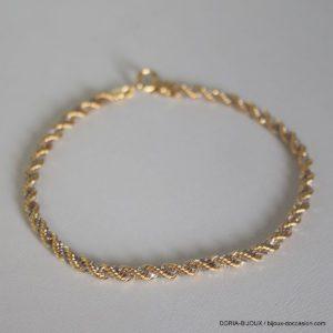 Bracelet Maille Corde + Venitienne Or 18k 750- 4.4gr