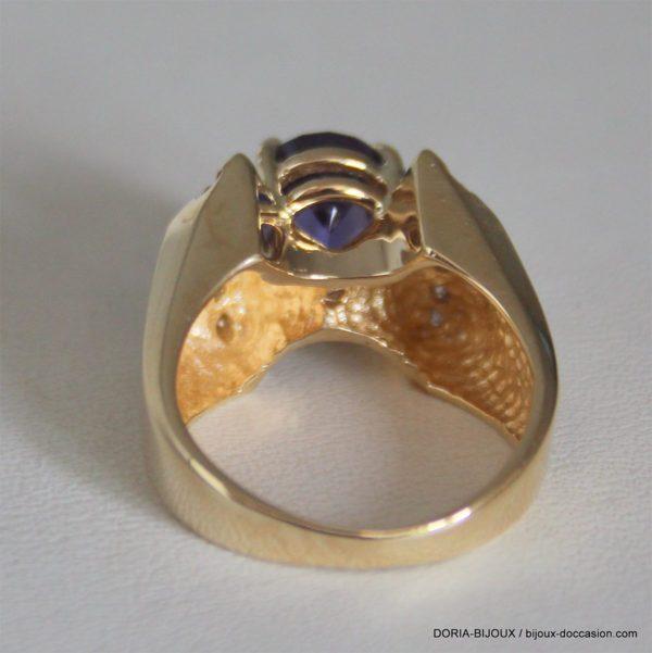 Bague Or 18k 750 Amethyste Diamants - 8.8grs -51