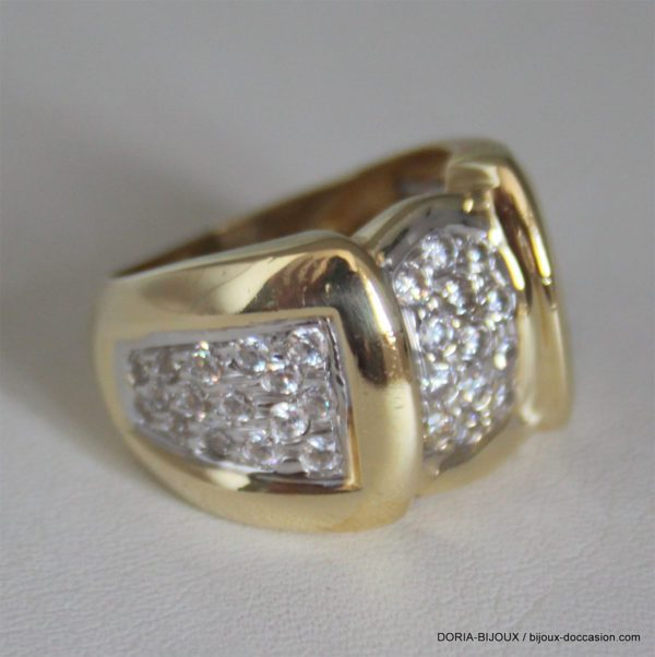 Bague Bicolore Or 750 Oxyde De Zirconium 14.6grs- 57