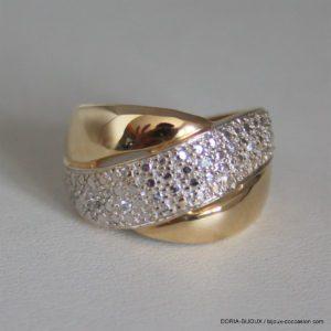 Bague Or Bicolore 18k Diamants - 4grs- 55