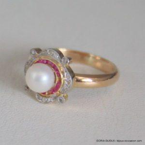 Bague Or 18k 750 Perle -rubis- Diamants -52- 3.6grs