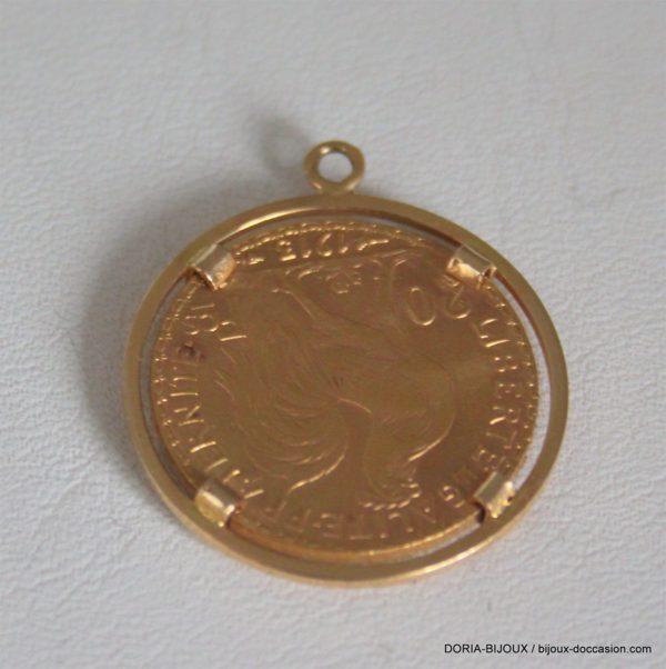 Pendentif Porte Piece Or 750 + Piece Or 20 Francs