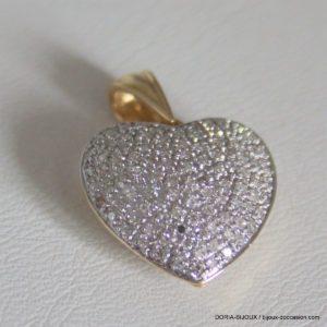 Pendentif Coeur Or 750 Pavage Diamants - 3.4grs