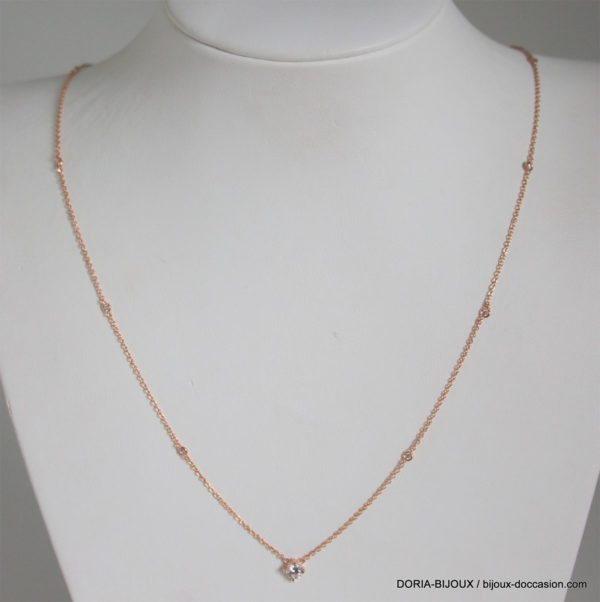 Collier Or Rose 18k 750 Oxydes - 65cm-  3.6grs