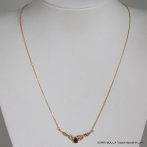 Collier Or 18k 750/000 Saphirs Diamants- 8.9grs