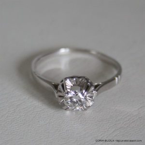 Bague Or 18k Solitaire Diamant 0.39carats - 2.9grs -
