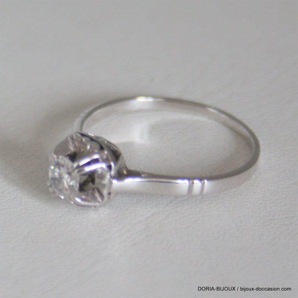 Bague Or 18k Solitaire Diamant 0.39carats - 2.9grs -