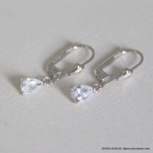 Boucles D'oreilles Dormeuse Zirconium Or Blanc 18k