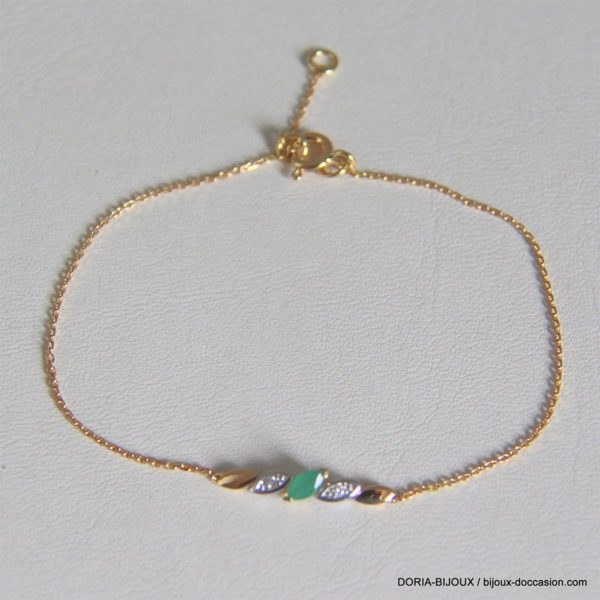 Bracelet Or 750 Emeraude Diamants - 1.5grs