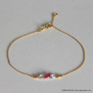 Bracelet Or 18k Rubis 0.12 Carat Diamant 0.01 Carat