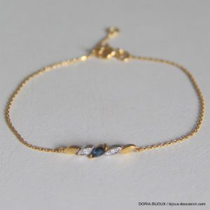 Bracelet Or 18k, 750 Saphir Diamants 1.40 Grs