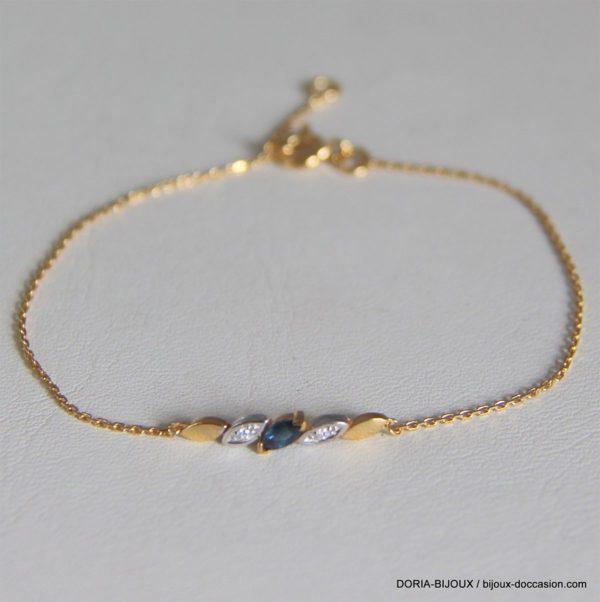 Bracelet Or 18k, 750 Saphir Diamants 1.40 Grs