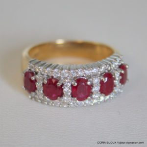Bague Or 18 Carats 9,32 Grs Diamant Rubis