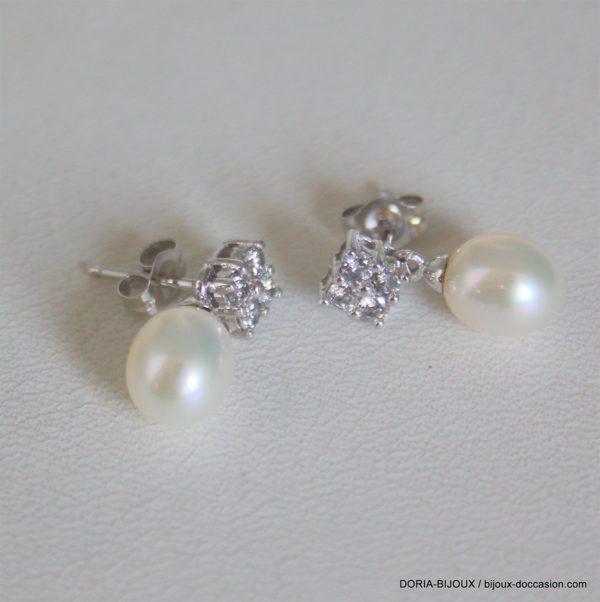 Boucle D'oreille Or Blanc 2,07 Grs Perles Pendentif