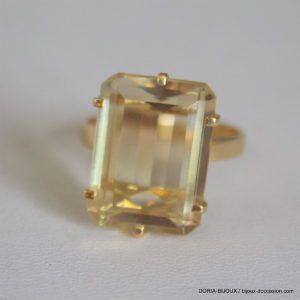 Bague Or 18 Carats 6,22 Grs Citrine 9 Carats