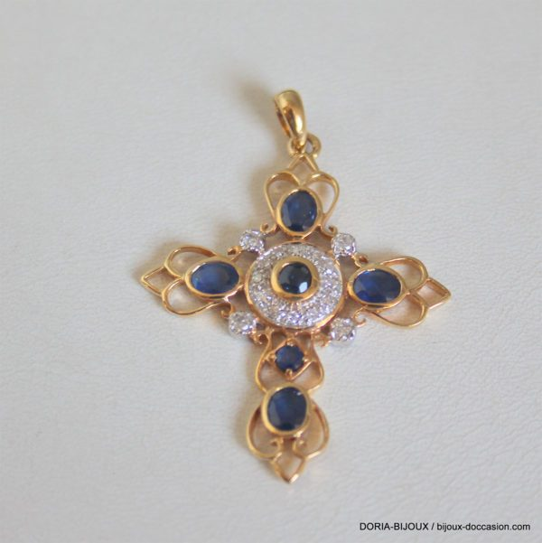 Croix Or 18 Carats 5,42 Grs Saphir Diamant,