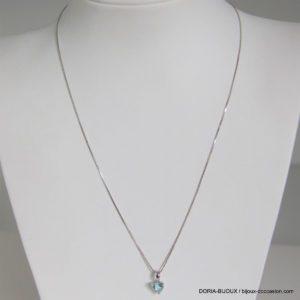 Collier Or 18k 750 Pendentif Coeur Topaze - 2.4grs