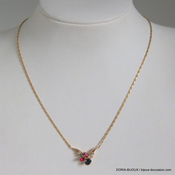 Collier Or 750 Rubis/Saphirs/Emeraude/Diamant 4.6grs