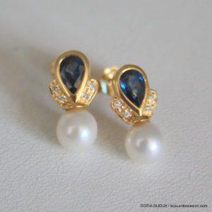 Boucles D'oreilles Or 18k Perles Et Saphirs- 2.8grs