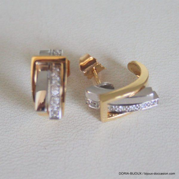 Boucles D'oreilles Guy Laroche Or 750 Diamants