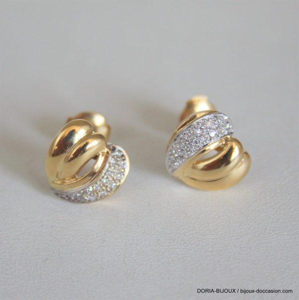 Boucles D'oreilles Or Bicolor 750 18k Coeur Diamants