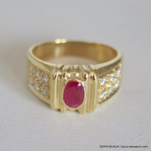Bague Or 18k 750  Rubis & Diamants - 7.9grs- - 53