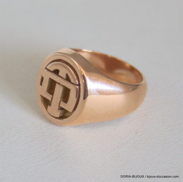 "Bague Chevaliere ""TD"" Or 750 - 18k -12.6grs -54-"
