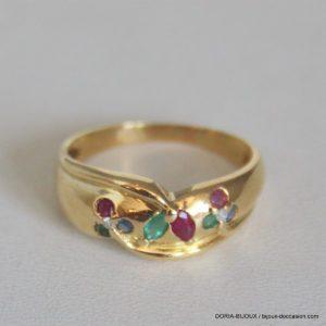 Bague Or 750 Emeraude Saphir Rubis Diamants -4.2grs