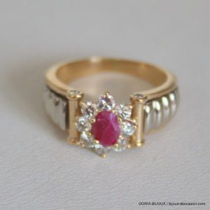 Bague Or 18k 750  Rubis & Diamants - 7grs- - 54