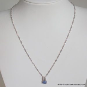 Collier D'occasion En Or Gris 375 Saphirs Diamants