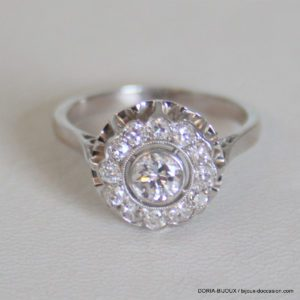 Bague Vintage Or Gris 18k 750  Diamants - 4.5grs-