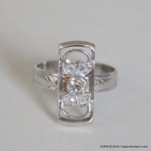 Bague Vintage Or Gris 18k 750  Diamants - 4grs-