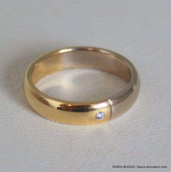 Allance Or Bicolore 18k 750 Diamant-5.6grs