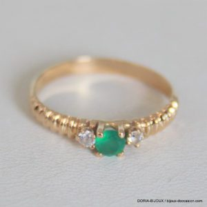Bague Or 750 Emeraude & Oxydes - 4.2grs - 58