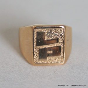 "Bague Chevaliere ""LP"" Or 750 - 18k -11.3grs -53-"