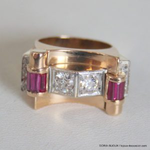 Bague Or 18k Vintage Rubis Diamants- 54-